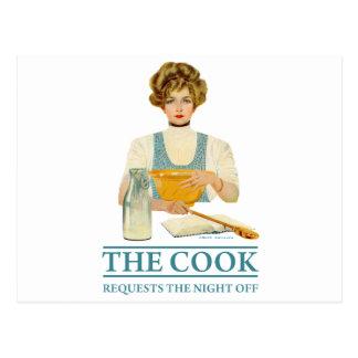 El cocinero pide la noche apagado postal