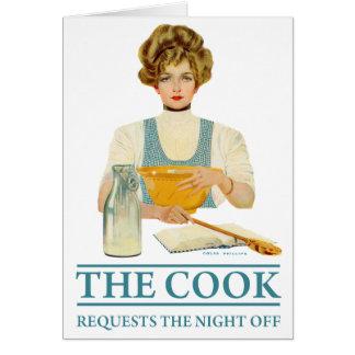 El cocinero pide la noche apagado tarjeta de felicitación