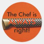 ¡El cocinero tiene siempre razón! Etiquetas Redondas