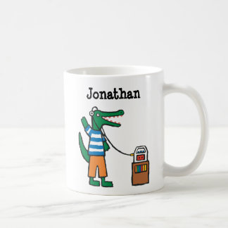 El cocodrilo fresco escucha la música taza de café