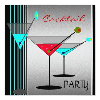 El cóctel corporativo bebe el rojo azul de Martini Invitación 13,3 Cm X 13,3cm