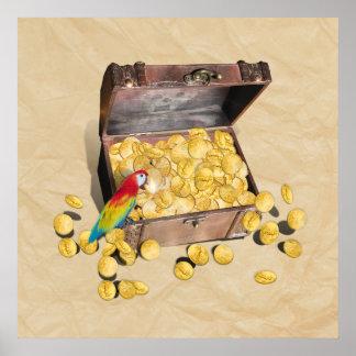 El cofre del tesoro del pirata en el papel de la póster