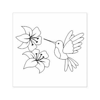 El colibrí cerca de las flores me colorea sello automático