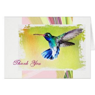 El colibrí le agradece observar tarjeta pequeña