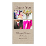 El collage de la arpillera le agradece tarjeta de  tarjetas personales con fotos