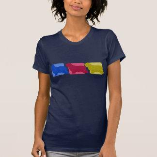 El collie barbudo colorido siluetea la camiseta de