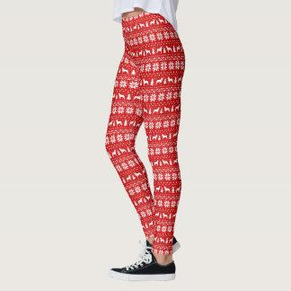El collie liso siluetea el modelo del navidad leggings
