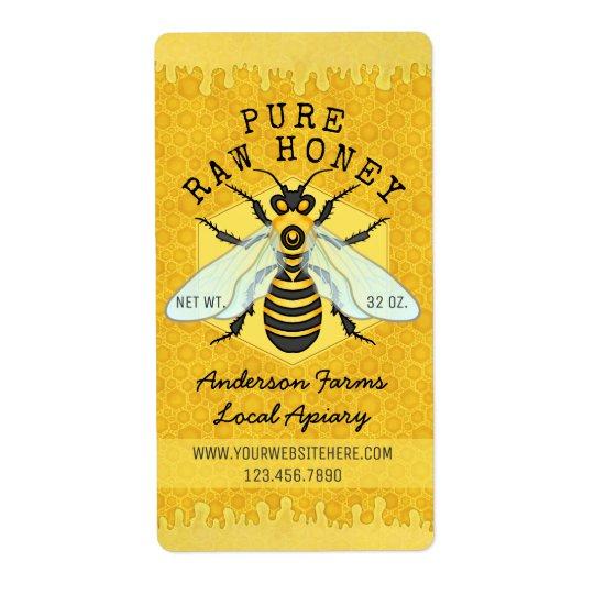 El colmenar del tarro de la miel de la abeja etiquetas de envío