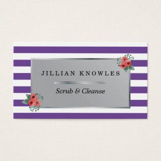 El color de malva raya cualquier color floral tarjeta de visita