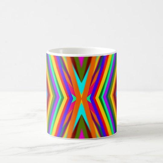 El color irradia la taza del arco iris
