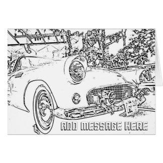 El colorante adulto, coche antiguo, añade su tarjeta de felicitación