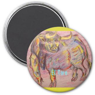 EL colorido Toro del toro Imán Redondo 7 Cm