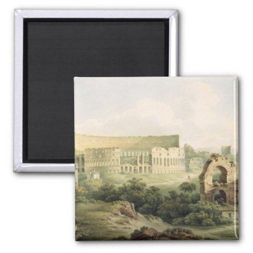 El Colosseum, Roma, 1802 (w/c sobre el grafito en  Iman