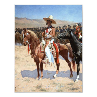 El comandante mexicano de Federico Remington Invitación 10,8 X 13,9 Cm