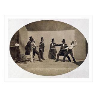 El combatir en duelo (foto) postal