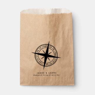 El compás con su special fecha el bolso del favor bolsa de papel