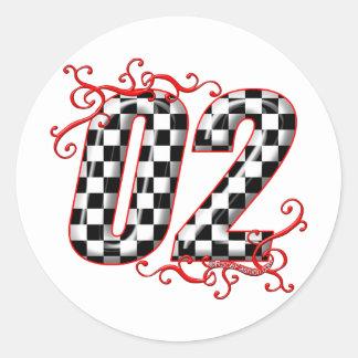 el competir con auto número 02 etiqueta redonda