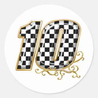 el competir con auto número 10 en oro etiqueta redonda