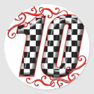 el competir con auto número 10 pegatinas redondas