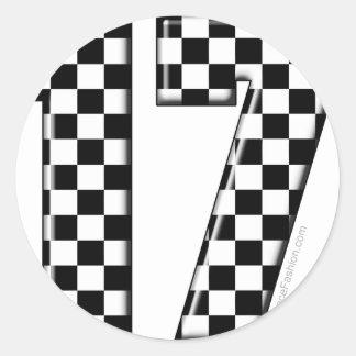 el competir con auto número 17 pegatina redonda