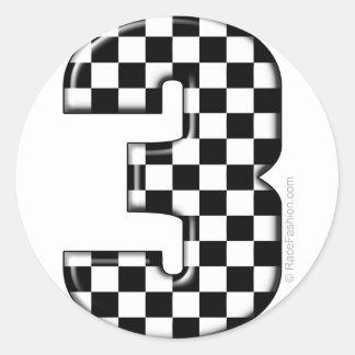 el competir con auto número 3 pegatina redonda