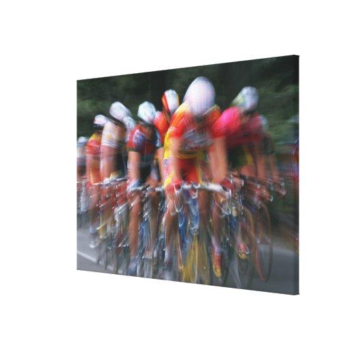 El competir con de la bicicleta del camino impresiones en lona estiradas