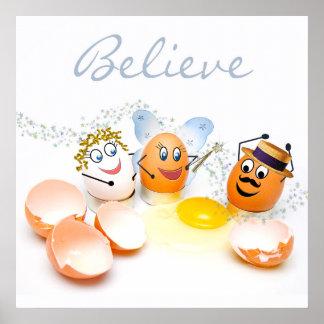 El concepto agrietado de los huevos/cree - el póster