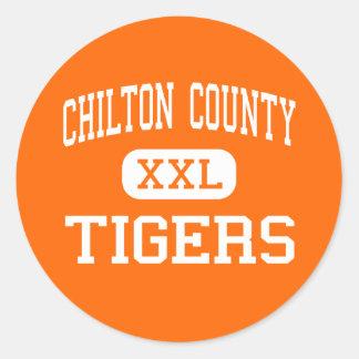 El condado de Chilton - tigres - alto - Clanton Pegatina Redonda