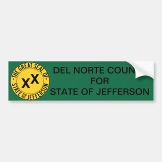 El condado de Del Norte para el estado del pegatin Etiqueta De Parachoque