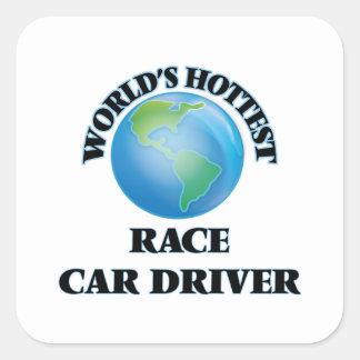 El conductor del coche de carreras más caliente pegatina cuadradas personalizada