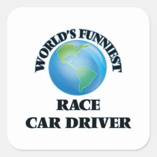 El conductor del coche de carreras más divertido calcomanías cuadradass personalizadas