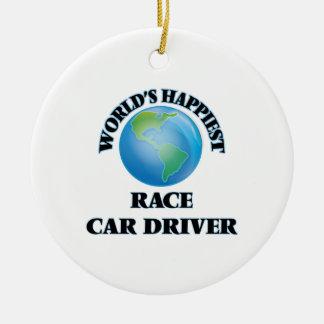 El conductor del coche de carreras más feliz del adorno redondo de cerámica