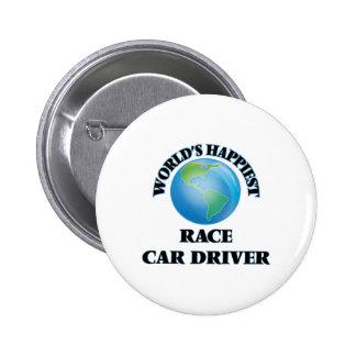 El conductor del coche de carreras más feliz del chapa redonda 5 cm