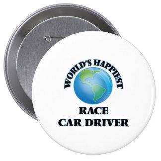 El conductor del coche de carreras más feliz del chapa redonda 10 cm