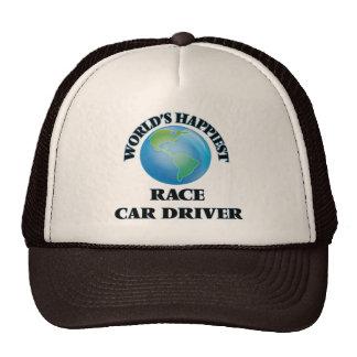El conductor del coche de carreras más feliz del gorras de camionero