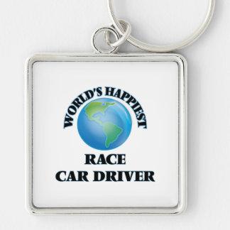 El conductor del coche de carreras más feliz del llavero cuadrado plateado
