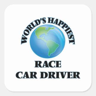 El conductor del coche de carreras más feliz del pegatina cuadrada