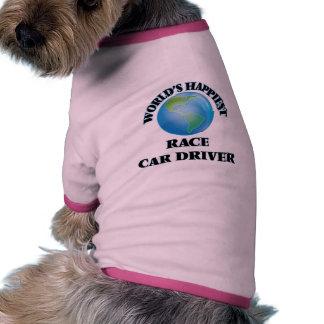 El conductor del coche de carreras más feliz del camiseta con mangas para perro