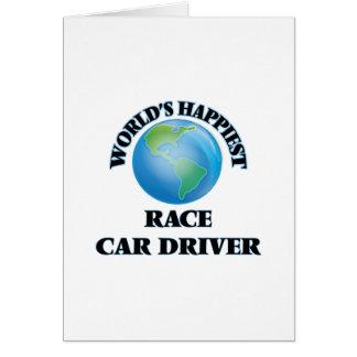 El conductor del coche de carreras más feliz del tarjeta de felicitación
