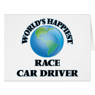 El conductor del coche de carreras más feliz del tarjeta de felicitación grande