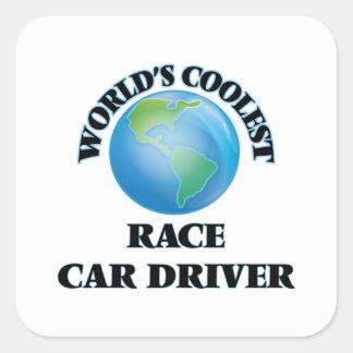 El conductor del coche de carreras más fresco del calcomania cuadradas personalizada