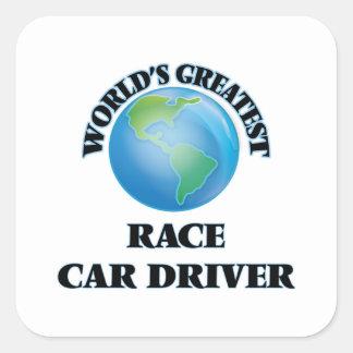 El conductor del coche de carreras más grande del pegatina cuadrada