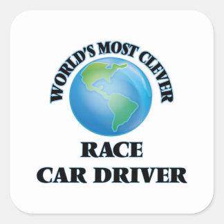 El conductor del coche de carreras más listo del pegatina cuadrada