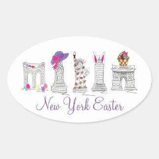 El conejito de la cesta de New York City NYC Pegatina Ovalada