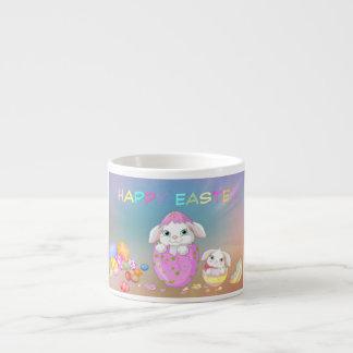 El conejito de pascua feliz pintado Eggs conejitos Taza De Espresso