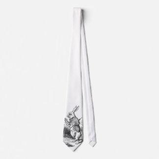 El conejo blanco con el reloj corbatas personalizadas