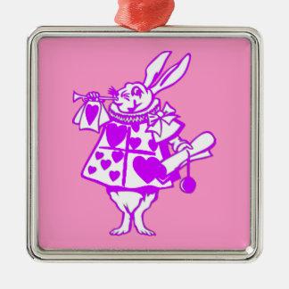 El conejo blanco en púrpura adorno cuadrado plateado