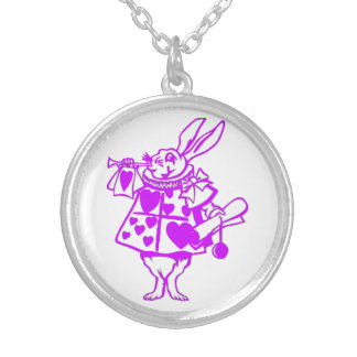 El conejo blanco en púrpura colgante redondo