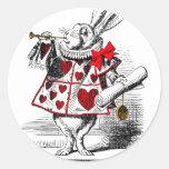 El conejo blanco pegatina redonda