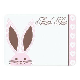 El conejo de conejito rosado le agradece cardar invitación 12,7 x 17,8 cm